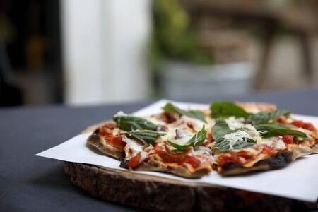 Pizza ham mushroom and basil