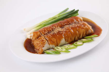 Spring Roll also known as Egg Roll local thai food isolated in white background