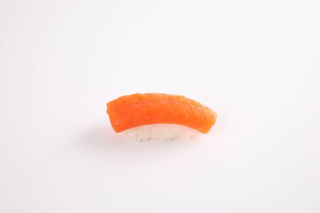 Salmon sushi Japanese food isolated in white background