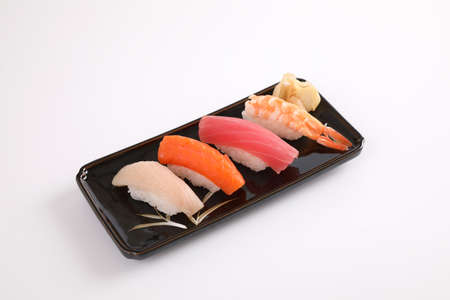 Sushi set , Japanese food sushi salmon tuna shrimp  and sea bass isolated in white background