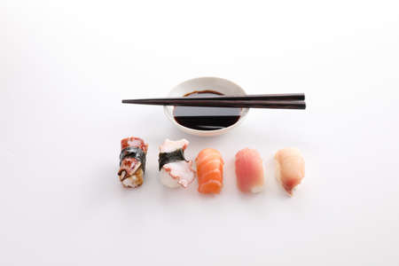 Sushi mix Japanese food sushi salmon tuna octopus eel and sea bass japan local food isolated in white background