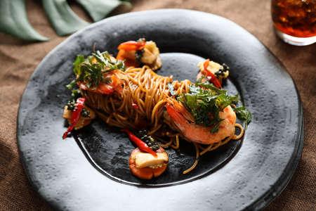 Spaghetti spicy with shrimp , Thai fusion food