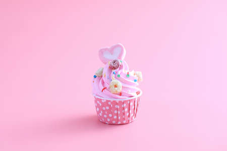 cupcake isolated in pink background Stock Photo