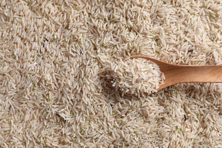 Organic raw brown rice in close up