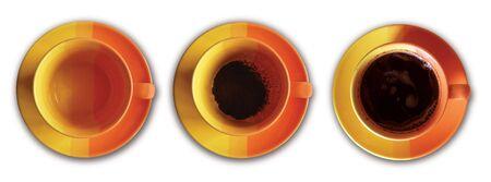 stilllife: story of three orange yellow pottery coffee cups Stock Photo
