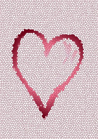 tessellation structure: abstract mosaic background with one big red heart in the middle Stock Photo