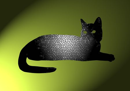 tessellated: black tessellated cat on green background