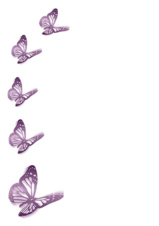 caligraphy: background with five purple butterflies Stock Photo