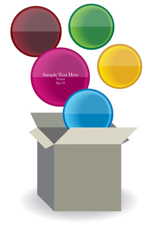 vector carton box with color communication bubbles Vector
