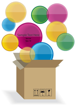 vector carton box with color speech bubbles Vector