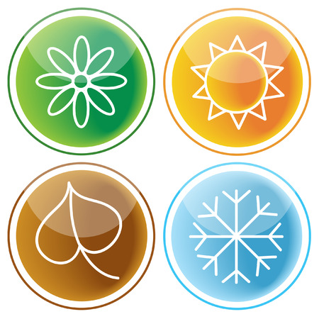 glossy buttons with four seasons symbols Vector