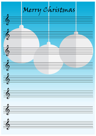 vintage notes paper with hanging christmas balls