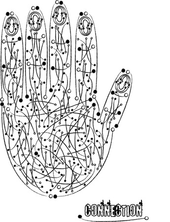 conectividad: concepto de conectividad con la mano amiga