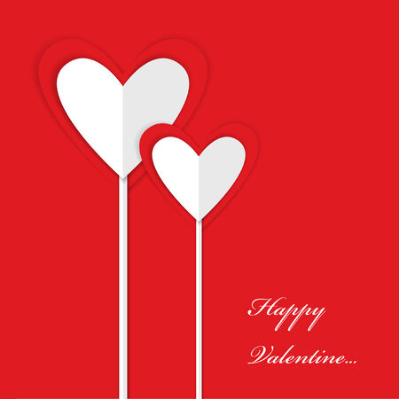 two paper valentine hearts and place for your text Vector
