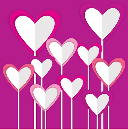set of origami paper valentine hearts Vector