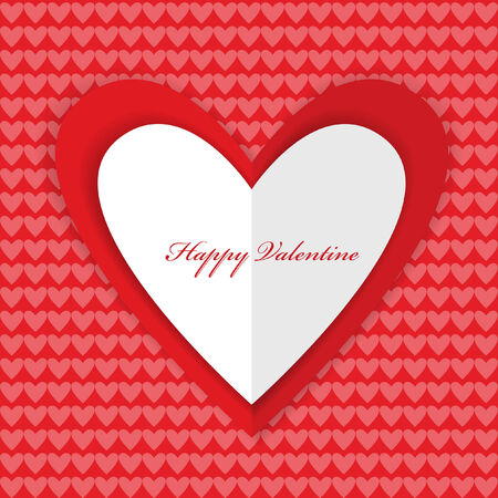 valentine card design with paper heart isolated on wallpaper background Vector