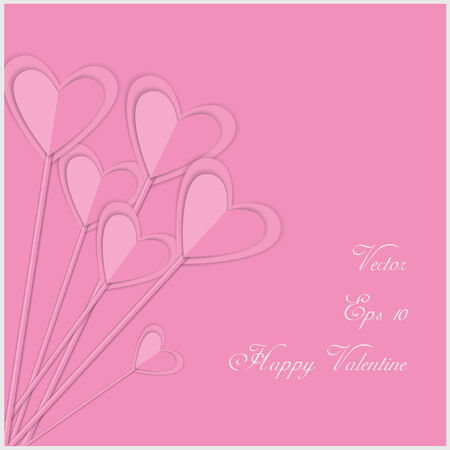 st valentin: valentine card with pink paper hearts and place for text