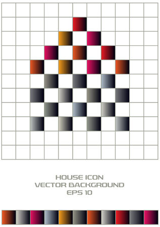 grid paper: color squares house icon on grid paper
