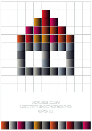 grid paper: vector house icon on grid paper