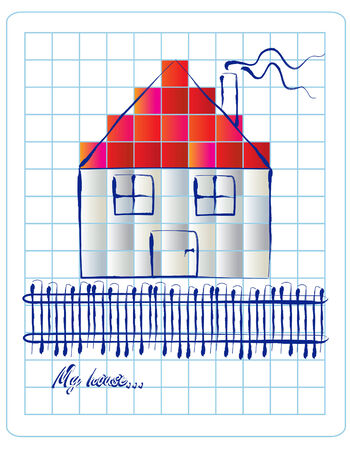 grid paper: house icon sketch on grid paper