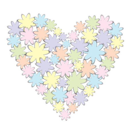 color valentine heart made of origami paper flowers Vector