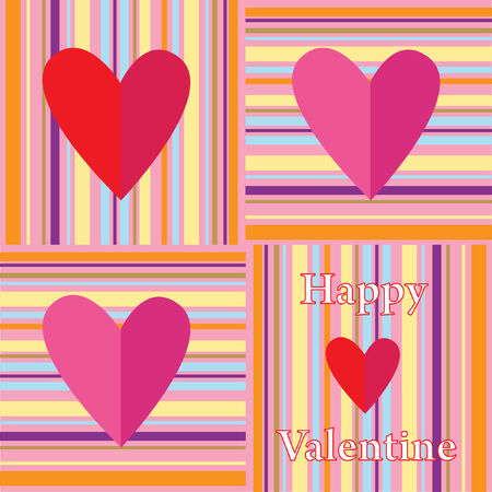 patchwork valentine design with lines and paper hearts Vector