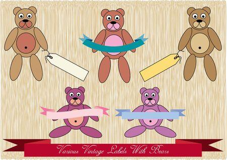 vintage teddy bears: set di colorati orsetti di peluche d'epoca