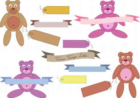 vintage teddy bears: set di orsi di peluche d'epoca