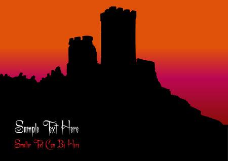 castle silhouette: black old castle silhouette in sunset