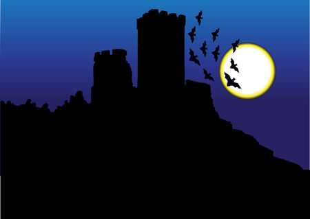 castle silhouette: castle silhouette and full moon Illustration