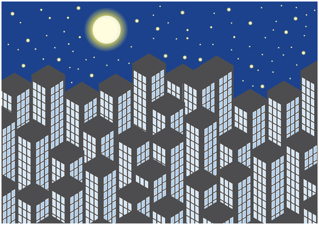 grey skyscrapers silhouettes by night Vector