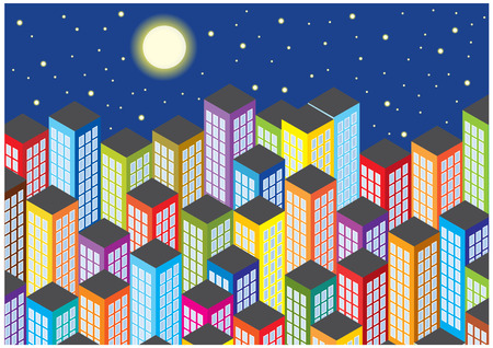 skyscrapers by night Vector