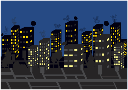 color vector background with skyscrapers by night Vector