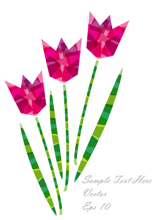 color origami paper tulip flowers Vector