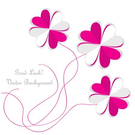 four leafs clover: tr�boles de papel origami vector de corazones rosados