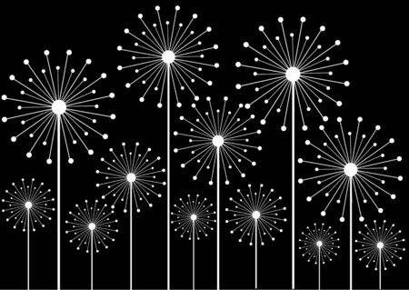 black and white vector illustration of dandelions silhouettes Vector