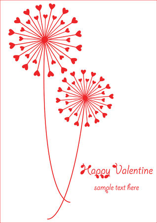 red dandelions with hearts Vector