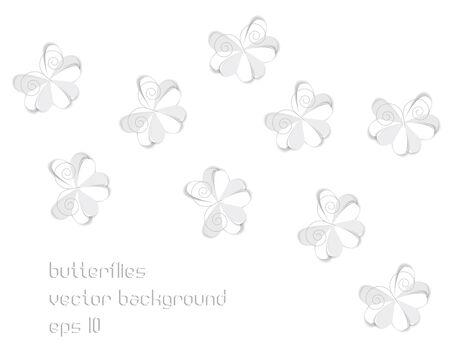 grey origami paper butterflies Vector