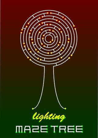 lost in space: lighting vector maze tree icon Illustration