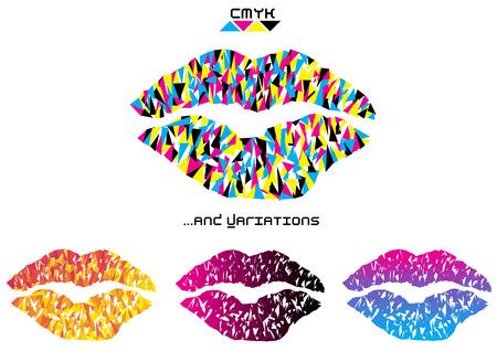 color vector pop art kiss