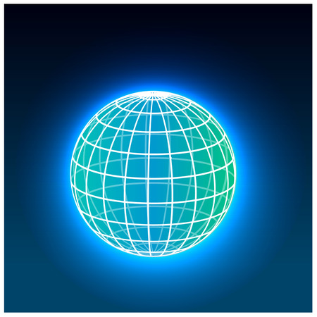 web desig: color bright grid vector earth globe icon