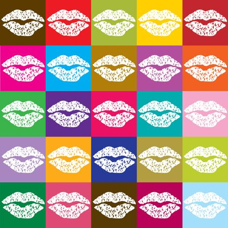 kissing lips: color vector pop art poster with kissing lips Illustration