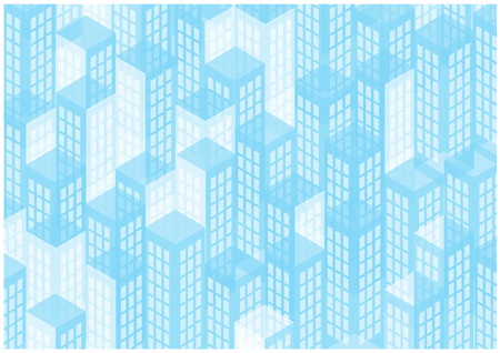 bright blue skyscrapers silhouettes Vector