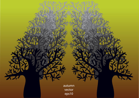 nude outdoors: vector illustration of trees alley
