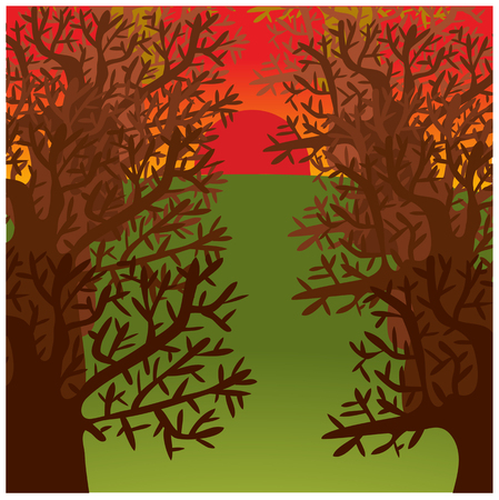 nude outdoors: color vector illustration of trees alley in sunset