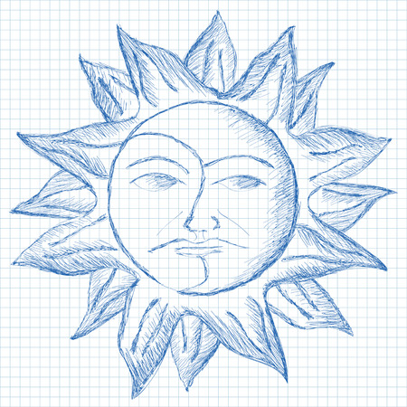 grid paper: ink sun and moon sketch on grid paper