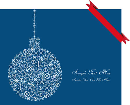 vector christmas card with decorative ball and red ribbon