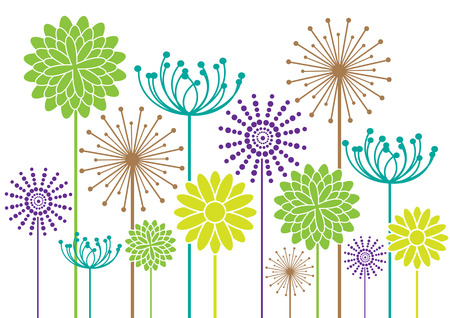 color vector flowers silhouettes Vector