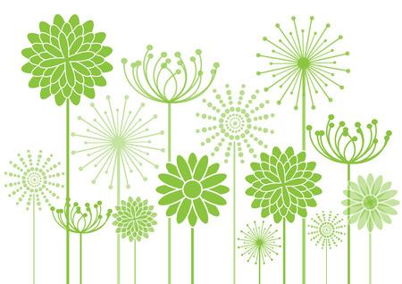 흰색 배경에 녹색 꽃 실루엣