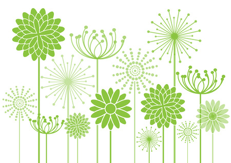 green flowers silhouettes on white background Vector
